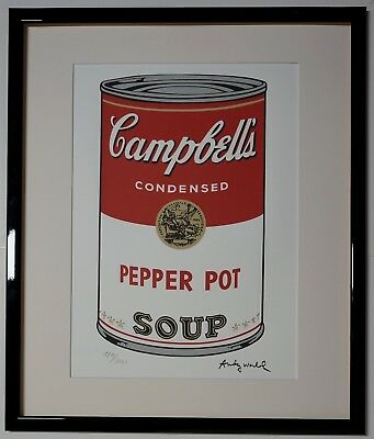 """Andy Warhol Campbell's soup """"Pepper Pot"""" Signed Lithograph Lim. 1810/2400 pcs."""