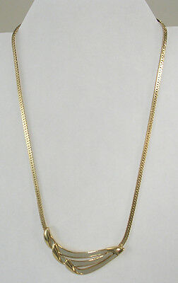 Trifari Choker Necklace of Gold Colored Metal & Very Pale Green Enamel Vintage