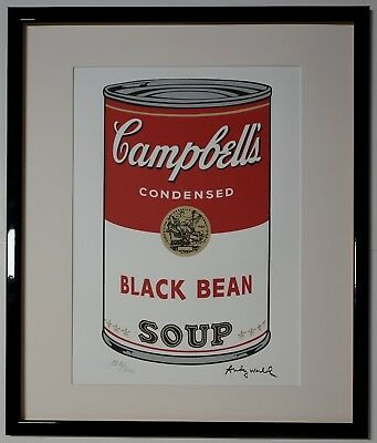 """Andy Warhol Campbell's soup """"Black Bean"""" Signed Lithograph Lim. 1810/2400 pcs."""