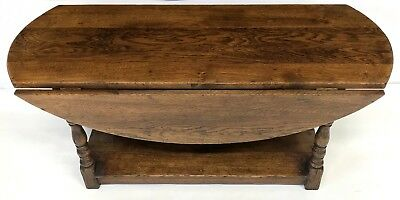 Antique Style SOLID Oak Drop Leaf Occasional Coffee Table with Pot Board Shelf