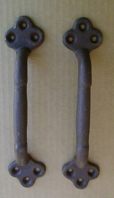 """2 ea Large 9"""" Cast Iron Gate Pull Barn Door Shed Pull Handle Brown Rust Finish"""
