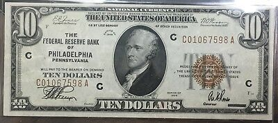 1929 $10 National Currency Federal Reserve Bank Philadelphia  Crisp P6