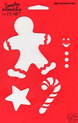 Christmas Stencil Template Gingerbread man Candy Cane All Night Media