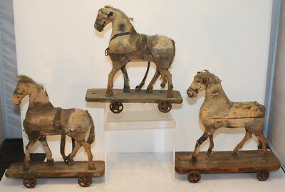 Antique Three Pull Toy Wood Horses on Platforms with Metal Wheels & Wood Stable