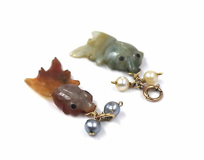 Pair Of Vintage Carved Red Green Jade Fish Pearl Pendant Charms 14K Yellow Gold