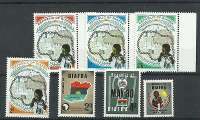 NIGERIA - BIAFRA 1968 Independence set (dull gum) 1969 Second Anniversary of Ind