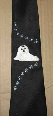 Mens Necktie MALTESE LAYING Hand-Decorated Nice Quality CLEARANCE SALE
