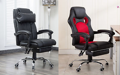 FoxHunter Computer Office Chair Recliner Faux Leather PU Padded Footrest OC13