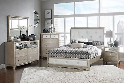 Silver U0026 Pearl White Upholstered 4 Pc Queen Bed Ns Dresser Bedroom  Furniture Set
