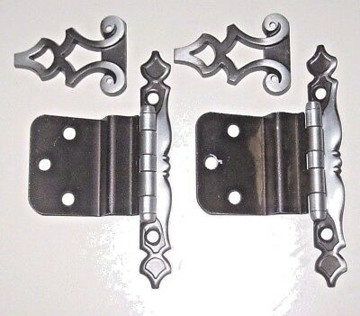 Vintage LOT OF 9 Pairs AMEROCK Antique SILVER Kitchen CABINET Door Strap HINGES