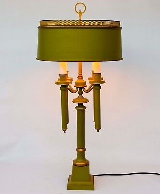 Large Vintage Tole Metal Table Lamp French Style Green w Gold 4 Candleholders