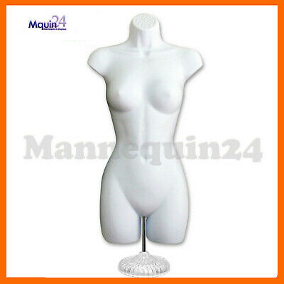 Female Torso Mannequin - White Dress Form + Table Top Stand + Hanger