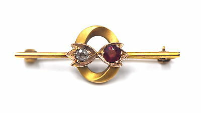 Antique Arts & Crafts Diamond Ruby Crest Stick Pin Brooch 14K Yellow Gold