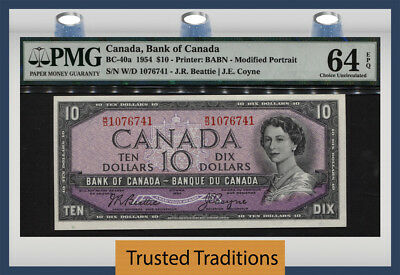 T BC-40a 1954 CANADA $10 QUEEN ELIZABETH II MODIFIED PORTRAIT PMG 64 EPQ CHOICE!