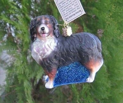 Old World Christmas BERNESE MOUNTAIN DOG Blown Glass Tree Ornament