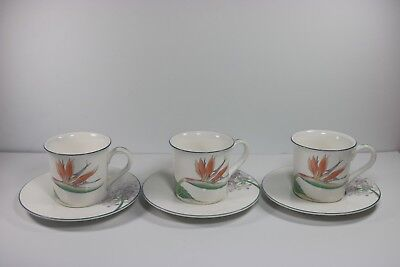 Vintage Noritake New Decade PACIFIC WINDS 3 Cup and Saucer Sets Japan