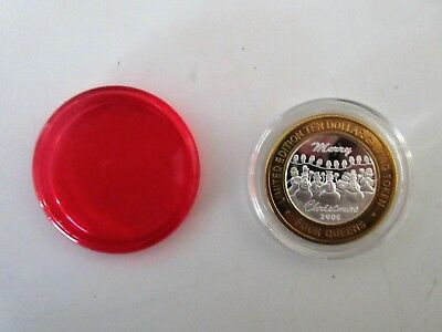$10 Silver Strike Four Queens RED CAPSULE 2006 Merry Christmas Snowmen