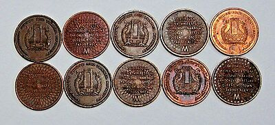 Lot of 10 NYC Triborough Bridge and Tunnel Authority Tokens