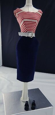 Vintage Barbie Complete 1959-62 Cruise Stripes #918 Doll Outfit W/ Belt