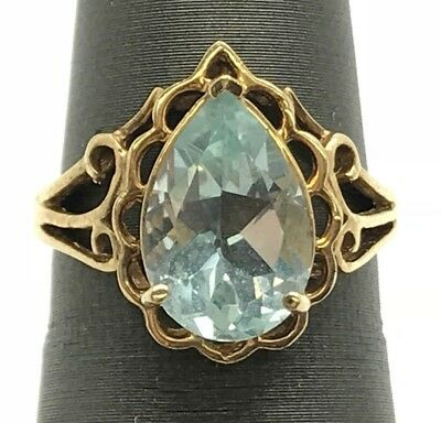 Antique 10K Yellow Gold Pear Blue Aquamarine Swirl Openwork Cocktail Band Ring 6