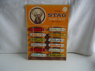 The Stag Pocket Knife Coca-Cola pocket Knife 12pc Store  display board scarce