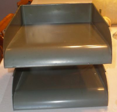 2 vintage Globe Wernicke steel stacking desk letter trays