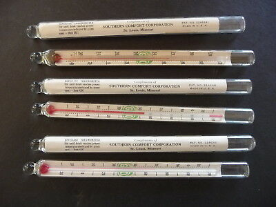 6-Southern Comfort Swizzle Stir Stick Cocktail Drink Glass Thermometers 1940 s