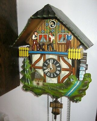Vintage SCHMECKENBECHER W. GERMANY MUSICAL WATER WHEEL SAW AXE CUCKOO CLOCK