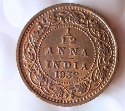 1932 INDIA 1/12 ANNA - High Quality Collectible  -FREE SHIPPING - India Bin #A/B