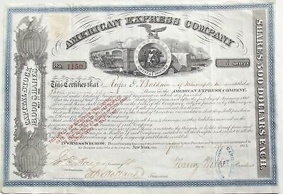 1866 American Express Co. Henry Wells Signed Stock Certificate