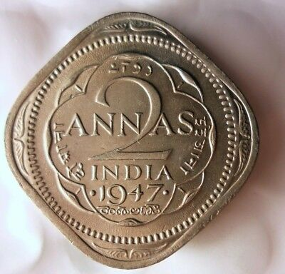 1947 INDIA 2 ANNAS - High Quality Collectible - FREE SHIPPING - India Bin #B