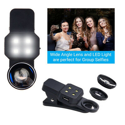 Phone Tablet Ultra Wide Angle Macro 198° Fisheye Len Clip Selfie Light