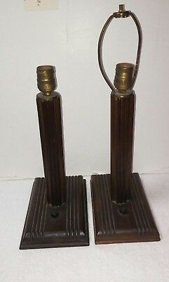 Pair vintage 1930's mahogany art deco table lamps