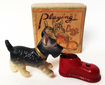 Vintage Occupied Japan Tin & Celluloid Wind Up Mechanical Playing Dog Nmib
