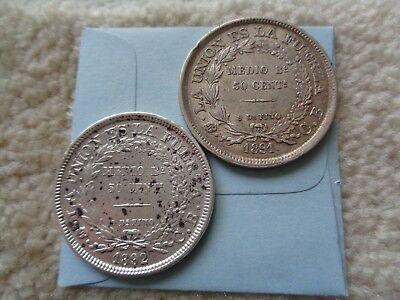 1891 and 1892 Bolivia 50 Centavos 2 silver coins lot