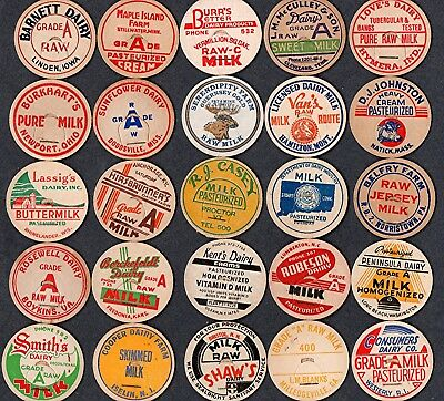 25 Old Vintage Milk Dairy Bottle Caps from 25 States