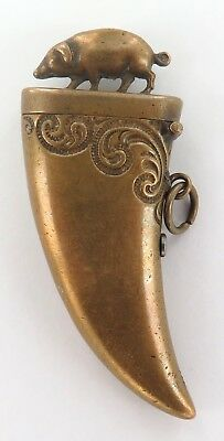 .LATE 1800's VICTORIAN ERA BRASS PIG VESTA IN THE SHAPE OF A LARGE TOOTH