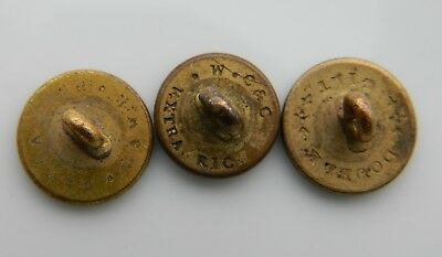 Lot of old ANTIQUE GILT BRASS uniform Buttons each with different BACK MARK