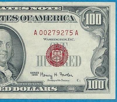 $100. 1966 Red Seal  Legal Tender United States Note Beautiful Extra Fine