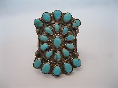 Wonderful Old Zuni or Navajo Silver & Turquoise Cluster Ring sz8