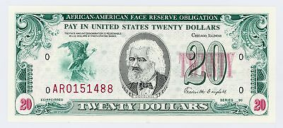 """1980's $20 """"AFRICAN AMERICAN FACE RESERVE OBLIGATION"""" (AFRO) Note CU"""