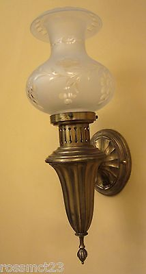 Vintage Sconces matched pair brass fixtures Astral shades. Large