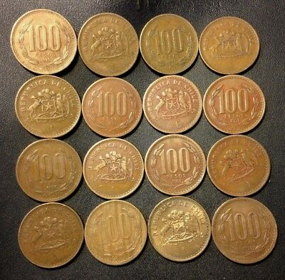 Old Chile Coin Lot - 100 PESOS -  Uncommon Bronze Type - 16 Coins - Lot #J15