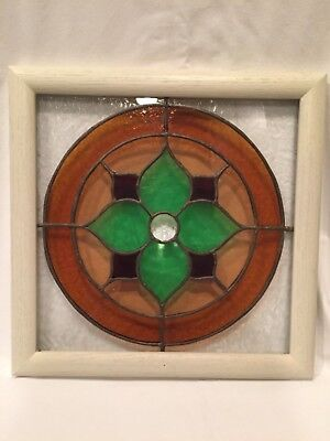 Handmade Stained Glass in White Washed Wood Frame