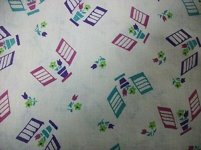 Vintage Window Sutter-Flowers Print Feed Sack Fabric 2- 33X45 (No Longer A Sack)