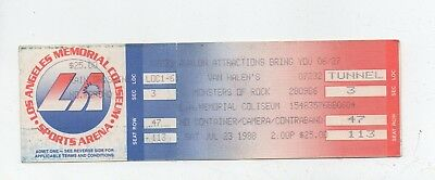 UNUSED VAN HALEN MONSTERS of ROCK 7/23/88 1988 LA MEMORIAL COLISEUM  TICKET