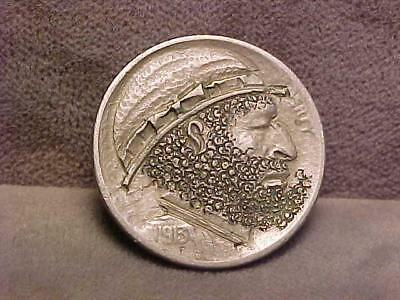 "U.S. ""Hobo Nickel"" Carved Buffalo 5 Cents Coin 1913"