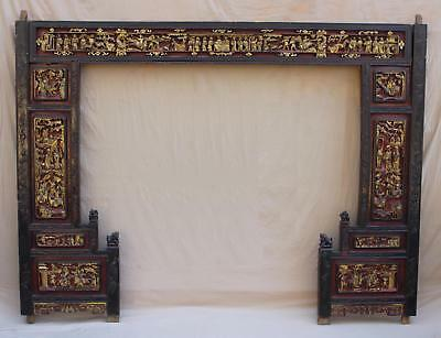 19thC Antique Chinese Carved, Painted & Gold Gilt Wood Architectural Arch Panel