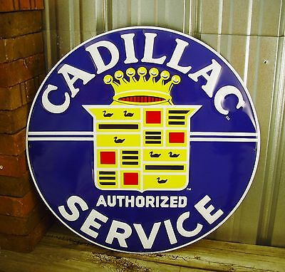 "Cadillac Service Blue Large Embossed 24"" Metal Tin Sign Vintage Garage Dealer"