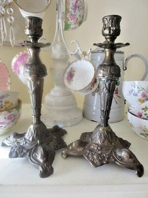 Pair of Tall Ornate Wonderful Vintage Candlesticks Made in Italy